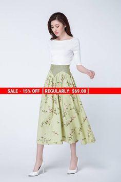 flower skirt, linen skirt, long skirt, swing skirt, womens skirts, romantic skirt, summer skirt, fashion clothing, high waisted skirt 1738