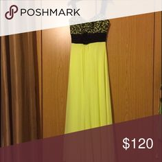 Prom dress Black and neon yellow,with tail, chiffon material.detailed chest area. Worn ONCE Dresses Maxi