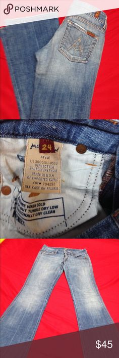 Seven for all mankind Jeans! Size 24 Seven for all mankind jeans. Jeans are in excellent condition! The jeans were too small for me, so they have been washed but never worn. Jeans are slightly flared at the bottom. Seven for all mankind Jeans Flare & Wide Leg