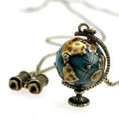 Travel Around Globe necklace telescope movable by dollarjewelry, $4.00