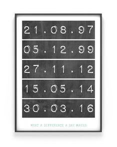 Special Dates Poster. zwart-wit poster met eigen tekst maken - Bij Printcandy maak je WallCandy. In 3 simpele stappen prints en posters online customizen.