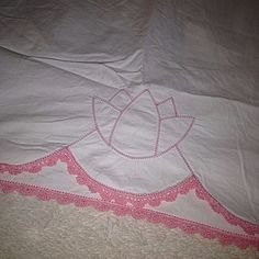 Vintage Antique Pillowcase Pink Embroidery Crochet Trim Floral Tulip Floral #Unknown