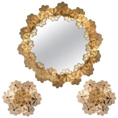 Set Of One Palwa Wall Mirrors - Backlit Two Wall Sconces Flowers Ernst Palme German Mid-Century Modern Brass, Glass