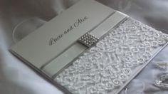 Lace Wedding Invitation Sample with Satin Detail and Square Diamonte Embellishment. £2.50, via Etsy.