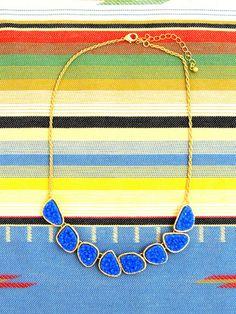 Wanderlust Druzy Stone Necklace in Cobalt Blue