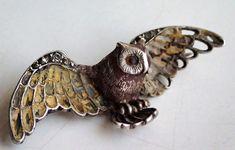 Jugendstil Brosche Eule, owl, silber emailliert, Markasit Cuff Bracelets, Shop, Jewelry, Fashion, Brooches, Art Nouveau, Owls, Silver, Moda