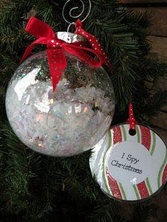 I spy Christmas ornaments.  This is a fun idea.