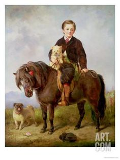 John Samuel Bradford as a Boy Seated on a Shetland Pony with a Pug Dog Giclee Print by Gourlay Steell at Art.com