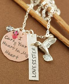 Personalized Necklace, Mommy Necklace, Friend Necklace, Hand Stamped,  Name Jewelry, Sterling Silver. $65.00, via Etsy.