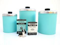Set of 3 Vintage Retro Turquoise Metel Kitchen by ElectricMarigold, $58.00