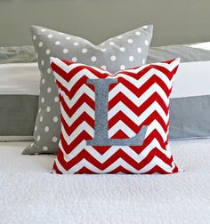 Popular Monogrammed Red Chevron Throw Pillow Cover - Nursery/Kid Sized on Etsy, $21.00