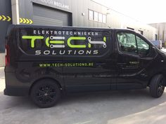 Commercial Vehicle Signage, Van signwriting, van signage for Tech Solutions - Lime green , matte black & aluminium metallic