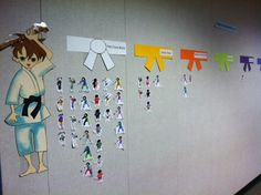 Another way to record progress in recorder karate.  Love the belts on the wall!