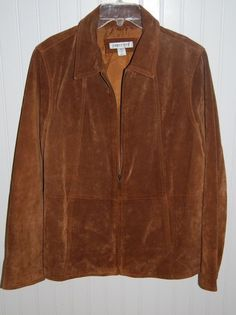 Coldwater Creek Leather Jacket Blazer Coat Petite Medium PM Zip Front Brown #ColdwaterCreek #BasicCoatJacket