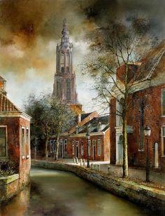 Marc Chapaud: French landscape painter born in Paris in Paris Painting, Cityscape Art, Architectural Section, Virtual Museum, Bruges, Paris Street, Life Is Like, Van Gogh, Netherlands