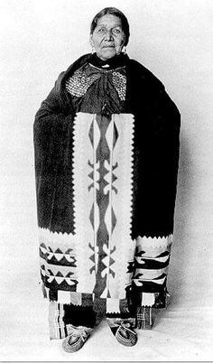 Susie Elkhair (d. 1926) of the Delaware Tribe of Indians, wearing ribbonwork…