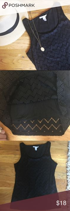 "✨BR Comfy Black Shell Comfortable black shell by Banana Republic. Geometric details. Lined. Size M. Good condition. 17.5"" across at the chest, 25"" long shoulder to hem. Banana Republic Tops"