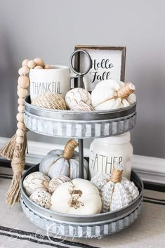 Tiered trays are a great decor piece for many areas of your home. Learn how to decorate tiered trays in 9 easy steps. No matter what your home style is a tiered tray is a great decor accent. Trays are great for kitchens, console & dining tables, or bathrooms. Farmhouse-style tiered trays can be filled with greenery, decorative orbs, wood signs, mini baskets, and more. Styling trays with two or three tiers with a variety of decor elements to match your home decor. Fall Home Decor, Autumn Home, Modern Fall Decor, Fall Winter, Thanksgiving Decorations, Seasonal Decor, Fall Decorations, Holiday Decor, Tray Styling