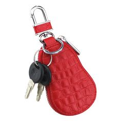 Car Key Holder Microfiber Leather Coin Bag Crocodile Gourd Type Key... ($7.09) ❤ liked on Polyvore featuring bags, key coin purse, leather coin wallet, zipper wallet, red wallet and leather zipper wallet