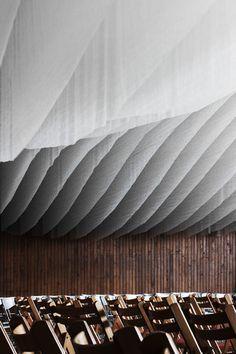 Gallery of Concert Hall Installation / Dániel Baló, Dániel Eke, Zoltán Kalászi - 16 Ceiling Detail, Ceiling Design, Space Architecture, Architecture Details, Urban Architecture, Building Architecture, Ceiling Texture Types, Fabric Ceiling, Sport Hall