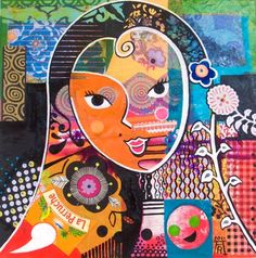 Russian Doll - Oil and collage on canvas by Anita Rautureau.