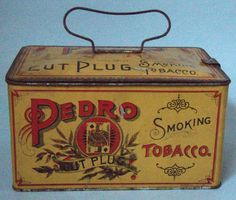 WONDERFUL EXAMPLE PEDRO ADVERTISING LUNCH BOX TOBACCO TIN EXCELLENT CONDITION