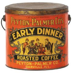 7-3/8 x 7.5″ tin litho 4 lb. coffee pail from Peyton- Palmer Co. (Danville, Ill.), featuring a nice dining table scene of Victorian ladies and a man eating an early dinner and great scroll work decorative elements around (same image both sides).