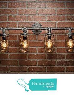 4 Mason Jar Light - Pipe Light - Vanity Light - Edison Light - Rustic Light - Industrial Light - Wall Light - Wall Sconce - Steampunk Light from TMG-DZN http://www.amazon.com/dp/B01AAYW3CS/ref=hnd_sw_r_pi_awdo_QJ9Wwb0EHXD95 #handmadeatamazon