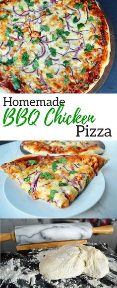 Homemade BBQ Chicken Pizza from scratch. Super easy pizza crust that turns out perfectly every time. Tips and tricks on how to make the perfect pizza crust + a secret ingredient in the sauce.