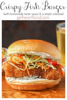 This crispy fish burger recipe has lightly coated panko cod fillets, a homemade tartar sauce and is piled high with an easy coleslaw recipe. So delicious! recipe bread crumbs Crispy Fried Fish Burger Recipe {w/ tartar sauce & slaw} Cod Recipes, Burger Recipes, Seafood Recipes, Cooking Recipes, Healthy Recipes, Cod Fillet Recipes, Easy Fish Recipes, Bread Recipes, Chicken Recipes