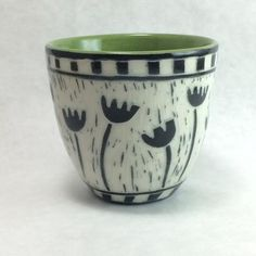 and 8 oz. Sgraffito, Tulips, Hand Carved, Porcelain, Carving, Pottery, Ceramics, Tableware, Green