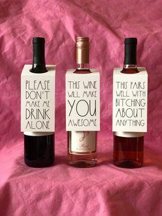 Wine Bottle Gift Tags for Wine Gift Basket, Funny Wine Tags, Wine Label Tags, Wine Bottle Thank You - Weihnachtsbasteln Mit Kindern Gift Baskets For Women, Wine Gift Baskets, Basket Gift, Baby Shower Gift Basket, Baby Shower Gifts, Wine Bottle Tags, Wine Tags, Whiskey Bottle, Gifts For Wine Lovers