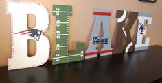 Patriots themed wall letters by LoveBbyCarrie on Etsy, $15.00 (Asher)