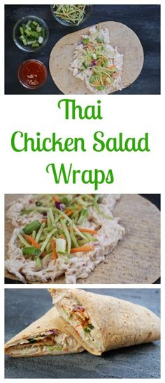 Thai Chicken Salad Wraps make a light and refreshing healthy lunch made in less than 10 minutes with precooked chicken and fiber-filled flatbread. @MomNutrition