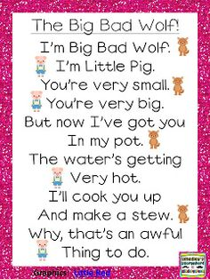 Big Bad Wolf Poem!...two students can read back and forth...this would be a cute simple readers' theater for students who are below level readers that will hopefully help their confidence! :)