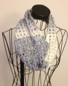 Scarf White and Gray Crochet  All  Seasons  by ToppyToppyKnits