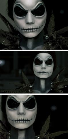 Linda Hallberg's Halloween make-up as jack Skellington.