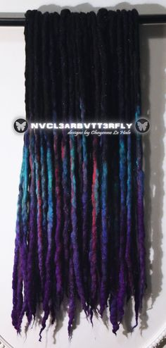 """Nvcl3ar Bvtt3rfly Festival Glitter """"Violet Peacock"""" Sparkly Wool Dreads 22DE 18""""-22"""" #festivalglitter #peacock #wooldreads #violethair #violetdreads #galaxyhair #galaxydreads #nvcl3arbvtt3rfly #handmade #synthdreads #fakedreads #fauxlocs #ooak #hairextensions #hairstyles #uniquehair #funhaircolor Wool Dreads, Dreadlocks, Fake Dreads, Galaxy Hair, Violet Hair, Synthetic Hair Extensions, Faux Locs, Unique Hairstyles, Cool Hair Color"""