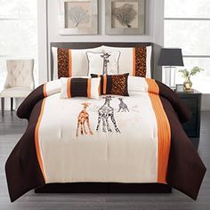 7 Piece Comforter Set Brown & Orange Giraffe Cotton Touch Embroidered (Queen)