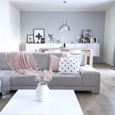 Grey, white and pink interior Rooms Home Decor, Home Living Room, Interior Design Living Room, Living Room Designs, Living Room Decor, Bedroom Decor, Living Room Goals, Beautiful Living Rooms, Decoration