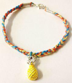 Upcycled  Pineapple friendship bracelet by LovelyRuthies on Etsy, £4.00