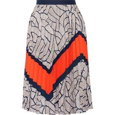 Diane von Furstenberg Saphira pleated chiffon-trimmed printed crepe de... ($430) ❤ liked on Polyvore featuring skirts, navy, sheer skirt, geometric skirt, knee length pleated skirt, diane von furstenberg skirt and navy blue pleated skirt
