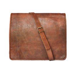 15' Men's Genuine Leather Messenger bag Laptop bag Satchel College crossbody shoulder bag gift for men women * Find out more details by clicking the image : Christmas Luggage and Travel Gear