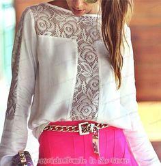 blusas 2014 mulheres verão nova moda camisas casual chiffon patchwork renda manga longa gola barra 13.99