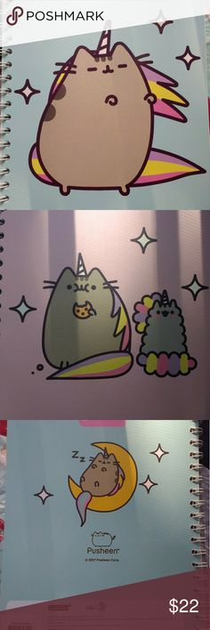 RARE unicorn Pusheen notebook + stickers Magical Pusheen in her mythical forms are the design of these cool notebook. 100% original, 100 white pages with blue ink stripes, dimensions are 20 x 26 cm. Comes with a sheet of more than ten decals or stickers. You find Pusheen on the cover of the book, when you open and close it ! This is a great gift idea for school or office supplies.  Any questions please feel free to ask I'm always prompt to reply. Price is negotiable and I'm open to offers…