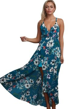 7482a9b27 Slate Blue Spaghetti Straps Cross Back Chiffon Floral Maxi Dress MB61476-4  – ModeShe.