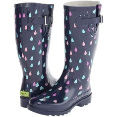 Western Chief Fresh Rain Boot Women's Rain Boots, Navy ($33) ❤ liked on Polyvore featuring shoes, boots, navy, slip on boots, print rain boots, low heel boots, western chief boots e colorful rain boots