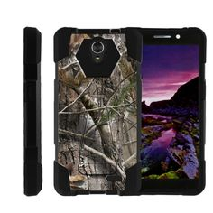 ZTE Sonata 3 Black Case, Hard Shell Case SHOCK FUSION, Combo Kickstand - Tree Bark Hunter Camo