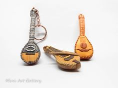 Bouzouki – Cretan lyre – Lute – Greek musical instruments / polymer clay miniature. © Mini Art Gallery