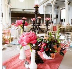Love the antique candelabras filled them with mini carnations. Great idea if your venue does not allow candles. Candelabra Wedding Centerpieces, Coral Centerpieces, Black Candelabra, Candlestick Centerpiece, Wedding Reception Decorations, Candlesticks, Wedding Table, Table Decorations, Rustic Wedding